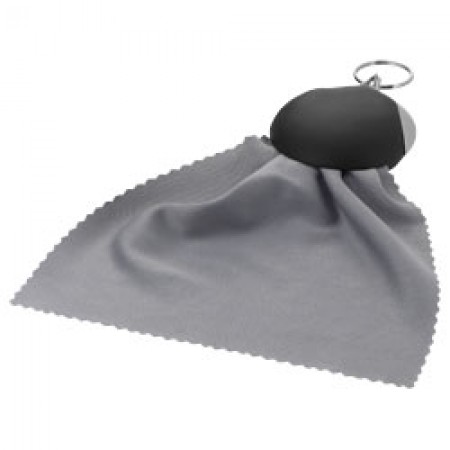 Clear-o cleaning cloth keychain, solid black
