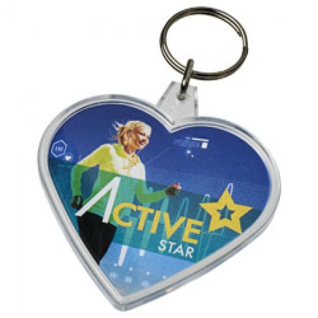 Combo heart-shaped keychain, transparent clear